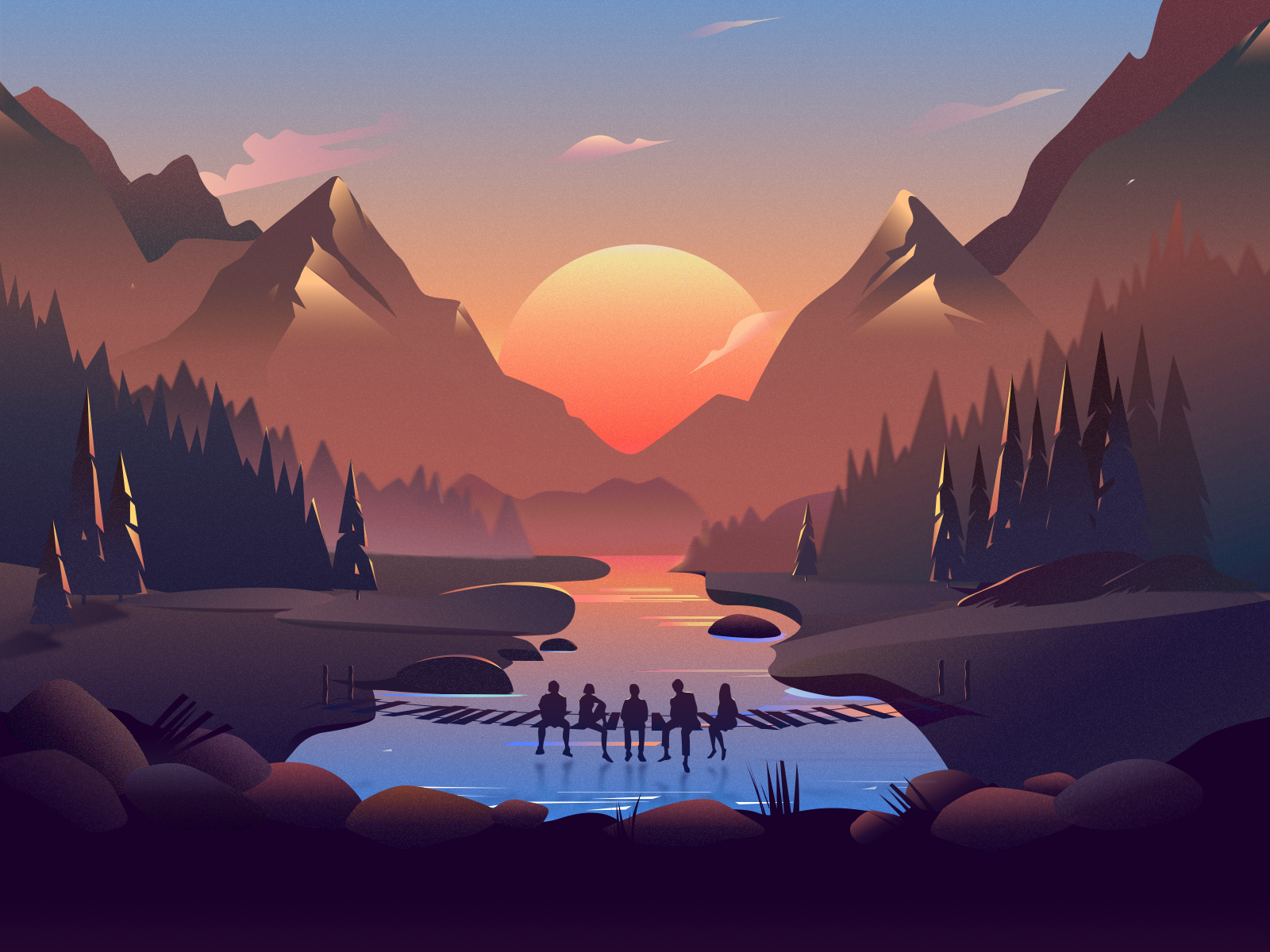 Afterglow Desktop Wallpaper Art Art Wallpaper Landscape Illustration