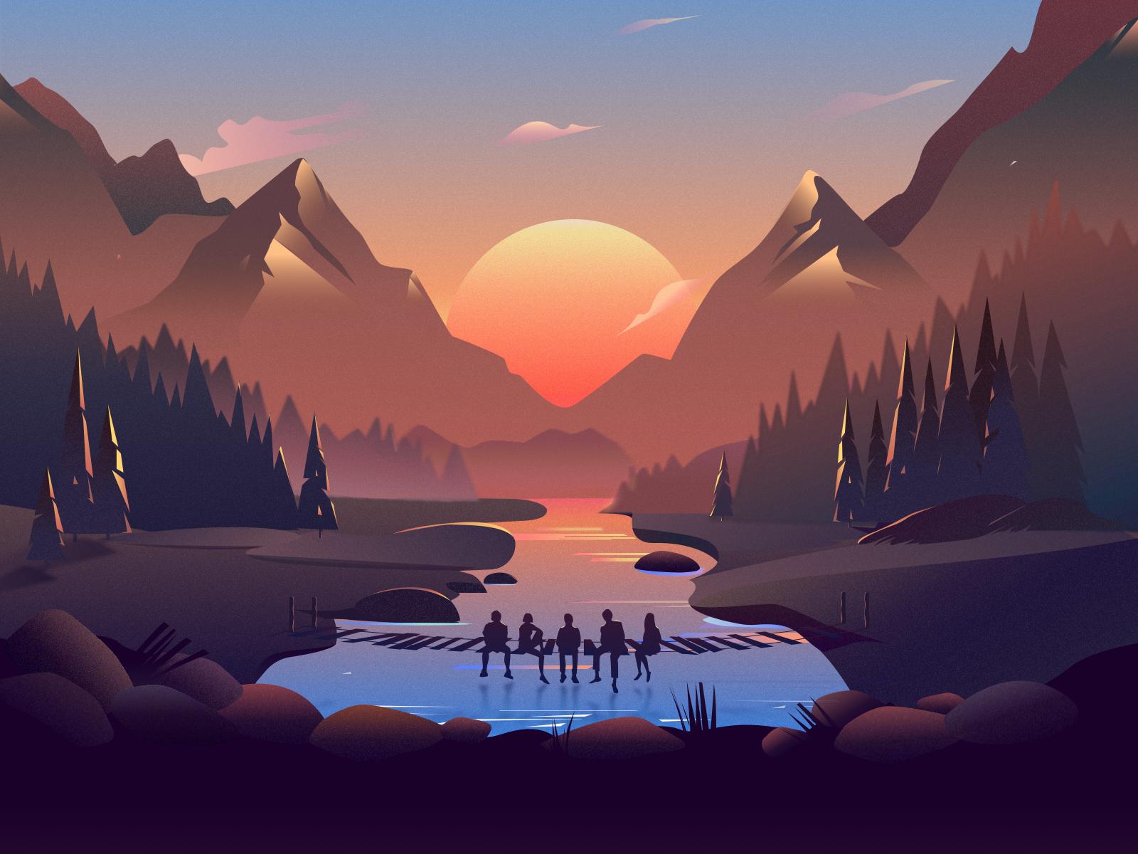 Afterglow Desktop Wallpaper Art Art Wallpaper Landscape Illustration