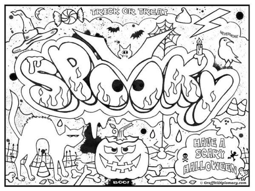 Abstract Halloween Coloring Pages : Printable graffiti challenging coloring page for teenagers