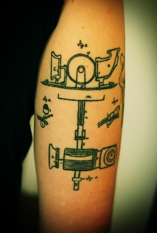 From a slideshow of tattoos inspired by science, this one is a drawing of Edison's patent for a recording device. You rock, anonymous limb.