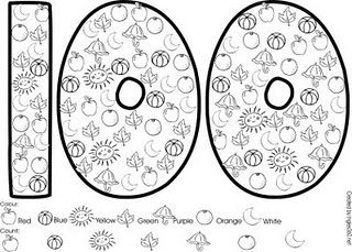 100th day of school activity. Color by object. Would be fun for kids to do w their Kinder Little Buddies.