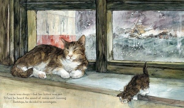 Gracie the Lighthouse Cat by Ruth Brown. Text appears over a flat area of the image.