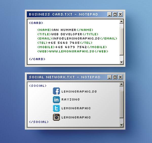 Notepad Programmer Business Card Design On Behance Business Cards Creative Business Card Design Card Design