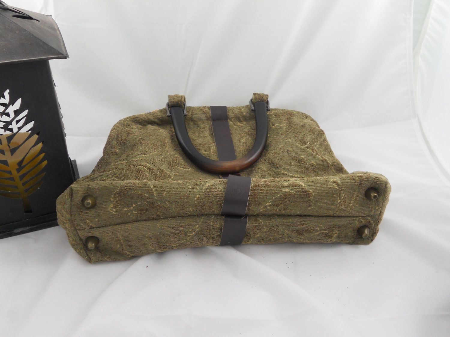 Victorian Steampunk Carpet Bag Green Chenille by