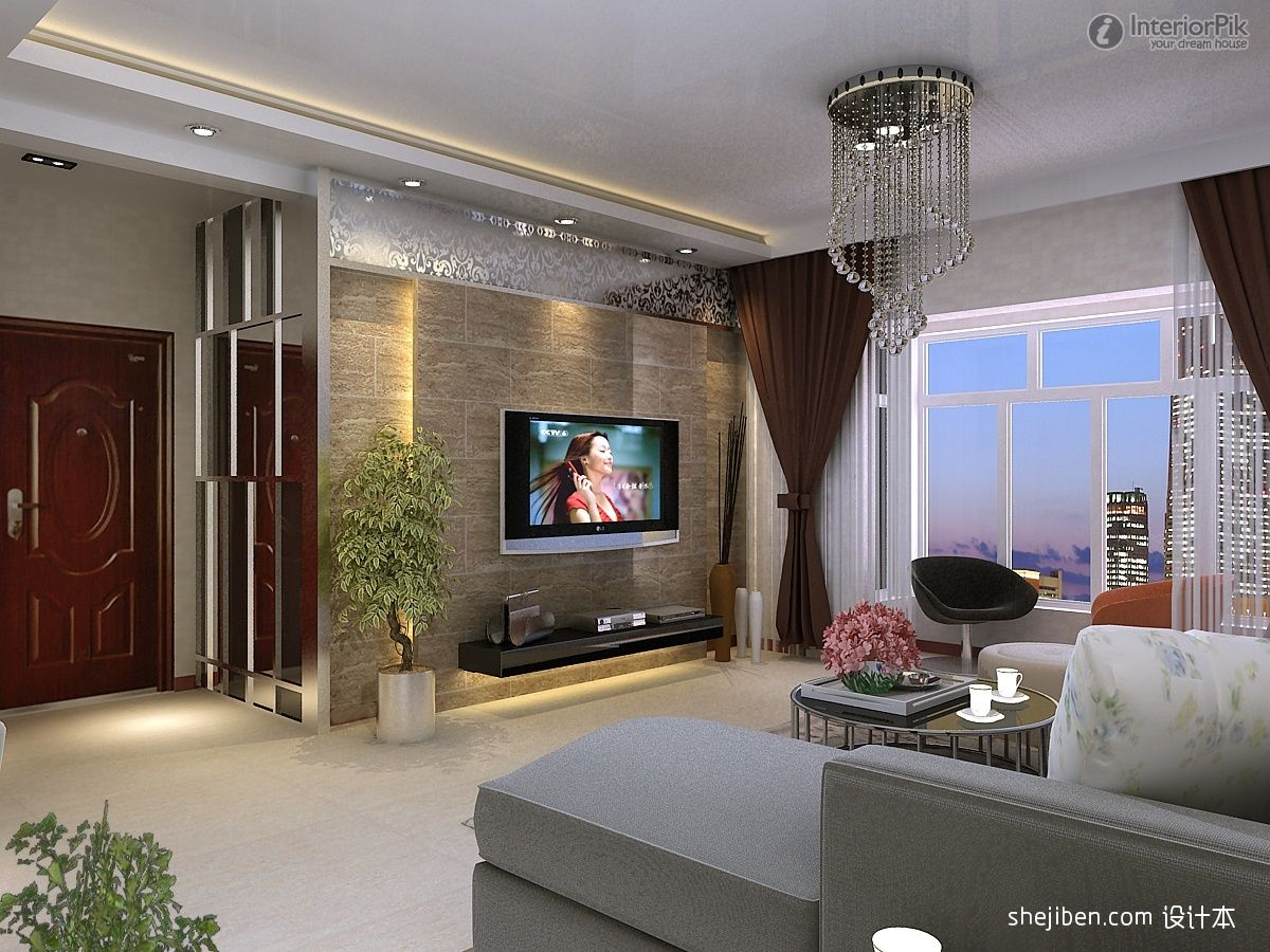 Superbe Tv Wall Decoration For Living Room : TV Background Wall Modern Living Room  With Brown Curtains And White Set Sofa Furniture