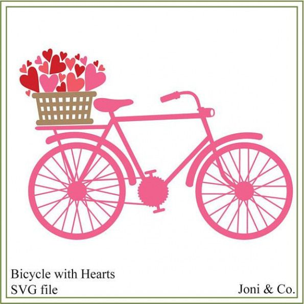 Download Bicycle svg, bicycle with basket, heart svg, iron on ...
