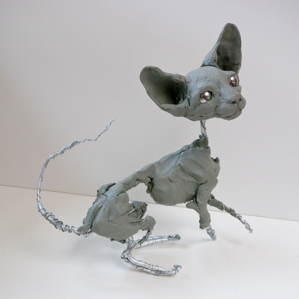 Early Stage Of Sphynx Sculpture On Wire