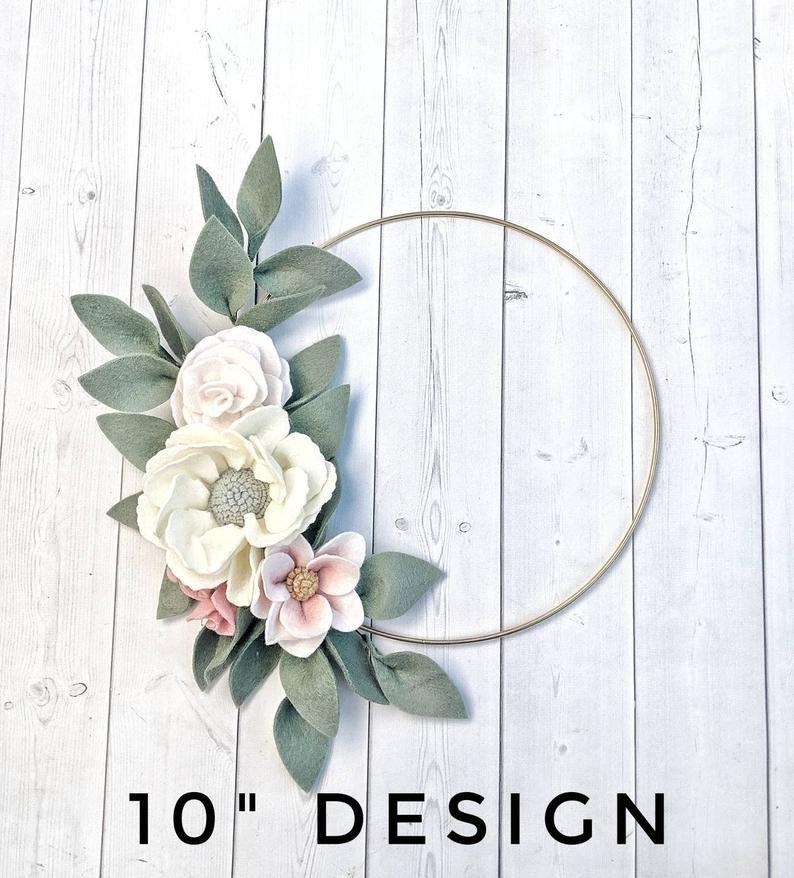 Photo of Felt Flower Hoop Wreath – Floral Hoop Wreath – Floral Boho Nursery Wall Decor – Hoop Wreath Set – 6″ 8″ 10″ Hoop Wreath for Girl Nursery