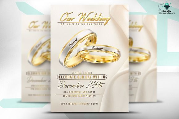 Wedding Flyer PSD Template by GraphicDiamonds on @creativemarket - wedding flyer