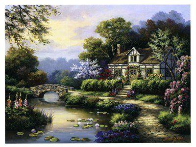 Swan Cottage II by Sung Kim 17x13 Laminated Art Print Poster null,http://www.amazon.com/dp/B00H8G6PBM/ref=cm_sw_r_pi_dp_gffSsb1HQ2F4Q8DR