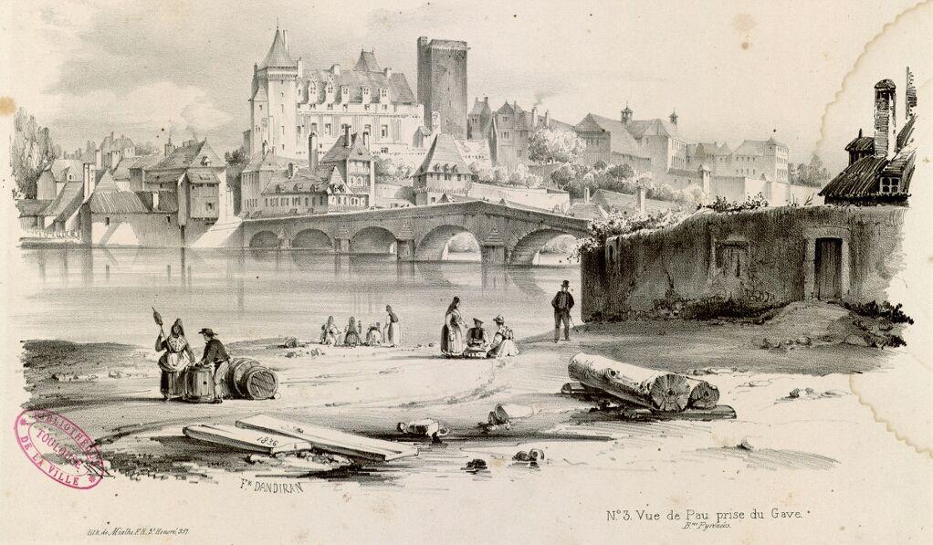 Vue de Pau prise du Gave -1836 – F. Dandiran