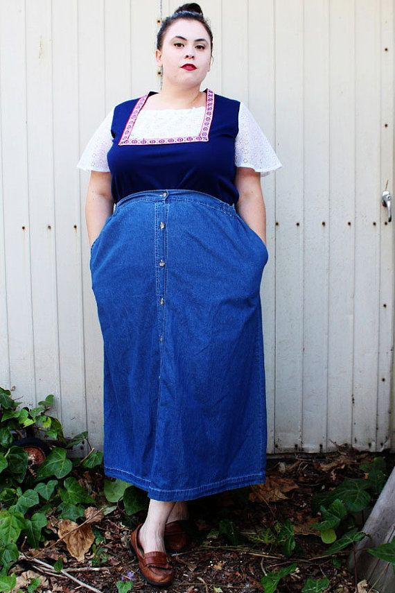 CLEARANCE - Plus Size - Vintage Denim Button Front Skirt (Size 22W ...
