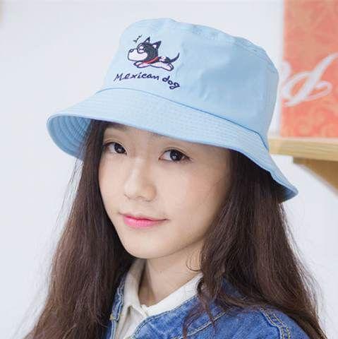2551e5ed8 French Bulldog embroidered bucket hat for girls fashion blue sun hat ...