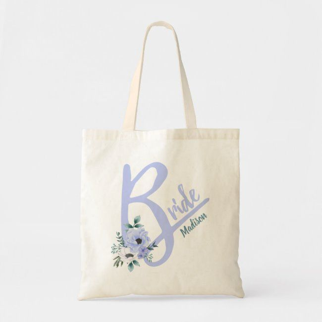 Floral Letter Dusty Blue Personalized Bride Tote Bag