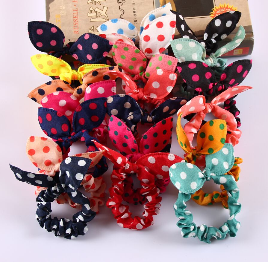 8Pcs/Lot Mix Style Clips For Hair band Polka dot leopard trip hair rope Rabbit Ears scrunchy Hair tie Baby hair accessories-in Hair Accessories from Women's Clothing & Accessories on Aliexpress.com | Alibaba Group