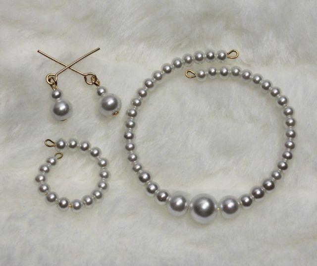 "IVORY Pearl Basic Choker Set 1 for Cissy 18-22/"" Revlon Vintage Fashion Doll"