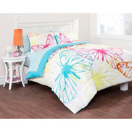 Walmart Bedroom Sets Unique Latitude Butterfly Silhouette Bed In A Bag Bedding Set  Walmart Inspiration