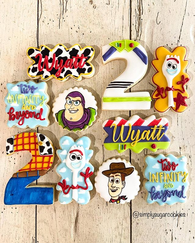 """Simply Sugar on Instagram: """"• TWO infinity and beyond • . . . #toystorycookies #customcookies #decoratedcookies #sugarcookies #royalicingcookies #decoratedsugarcookies…"""""""
