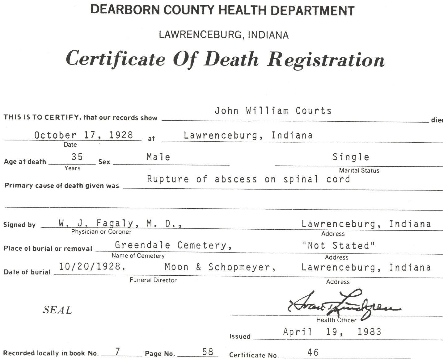 John William Courts Death Certificate. Son of William Henwood Courts ...
