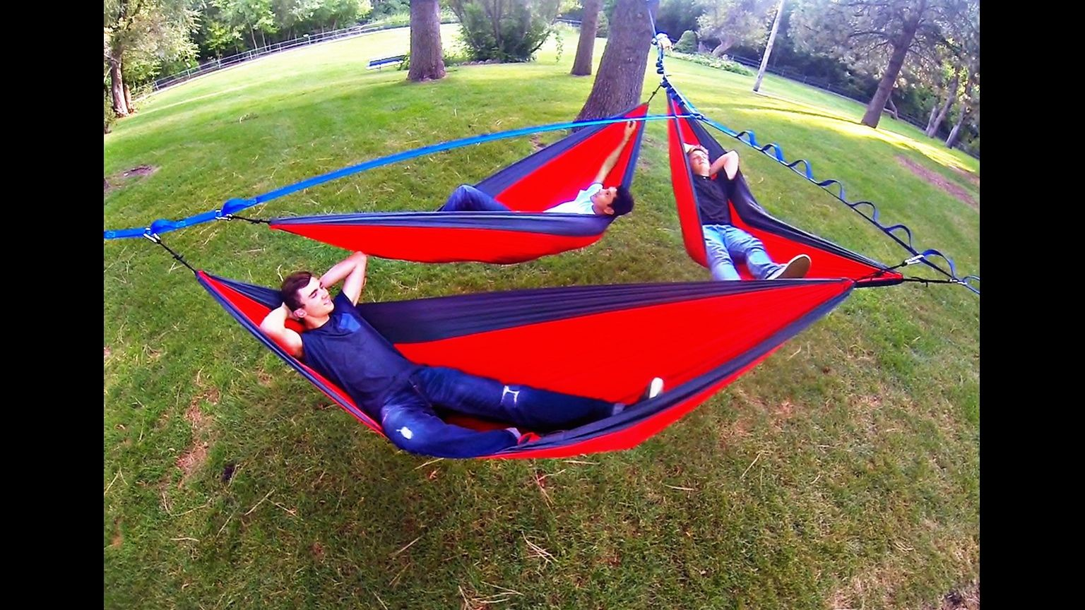 Always hang together the treeo is a hammock frame for up to three