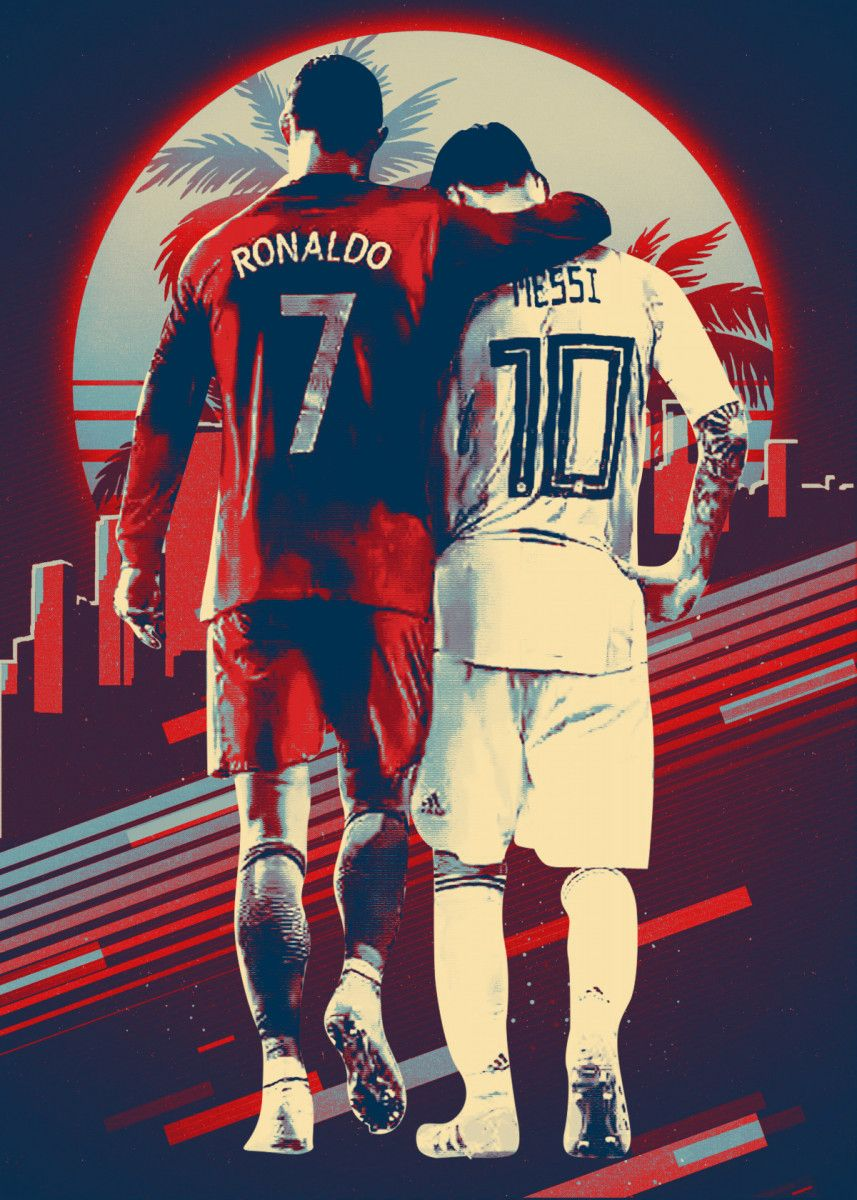 Cr7 And Messi Poster Print By Ignite Colour Displate In 2020 Messi Poster Messi Messi And Ronaldo