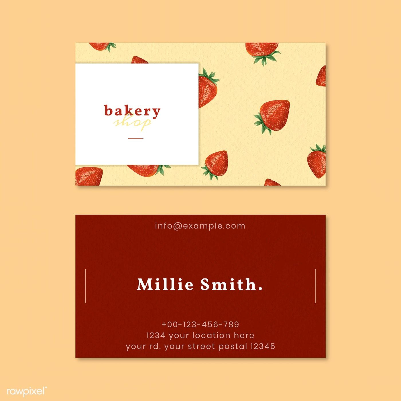 Hand Drawn Bakery Name Card Template Vector Free Image By Rawpixel Com Aew Bakery Business Cards Baking Business Cards Name Cards