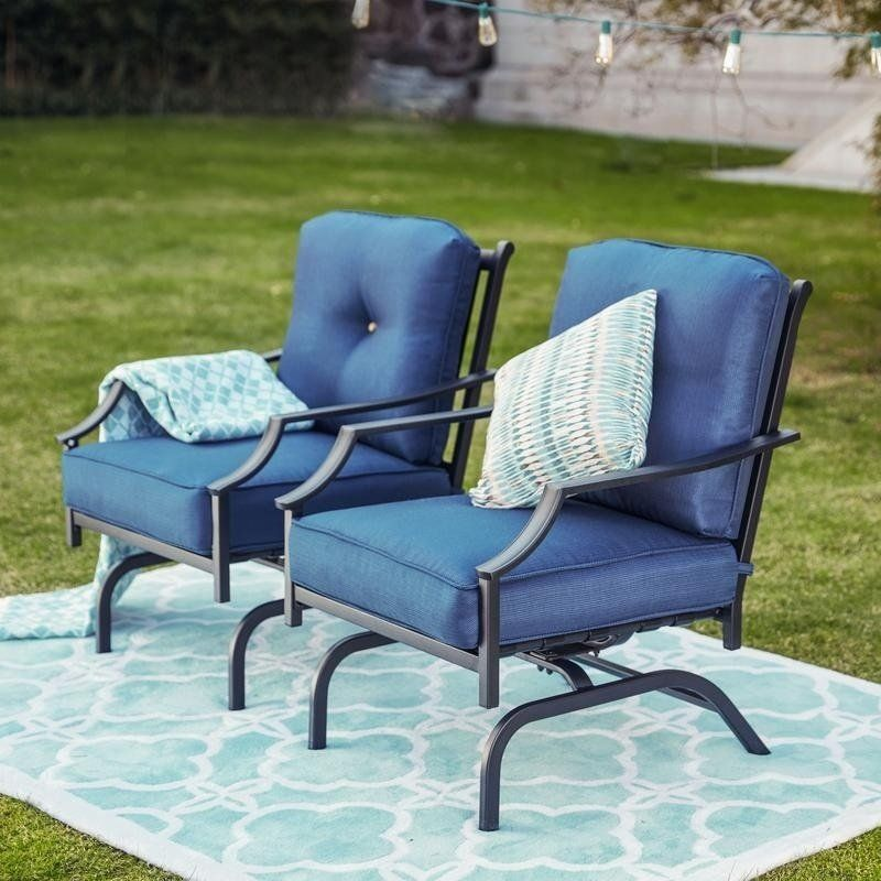 PATIO FESTIVAL Rocking Motion Chair (Set of 2) (Grey), Gray