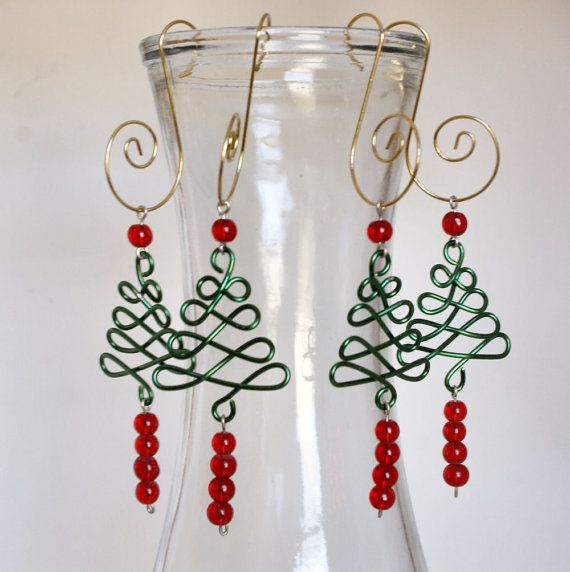 Green & Red Beaded Wire Christmas Tree Ornaments set of 4 CO12 ...