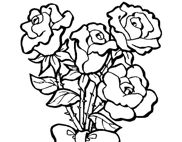 Dibujo De Ramo De Rosas Dibujo De Flores Para Colorear Con