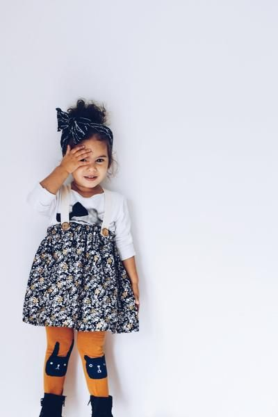 4acc724162 High Waisted Floral Skirt for Baby Girls! White and gold floral suspender  skirt for toddler girls