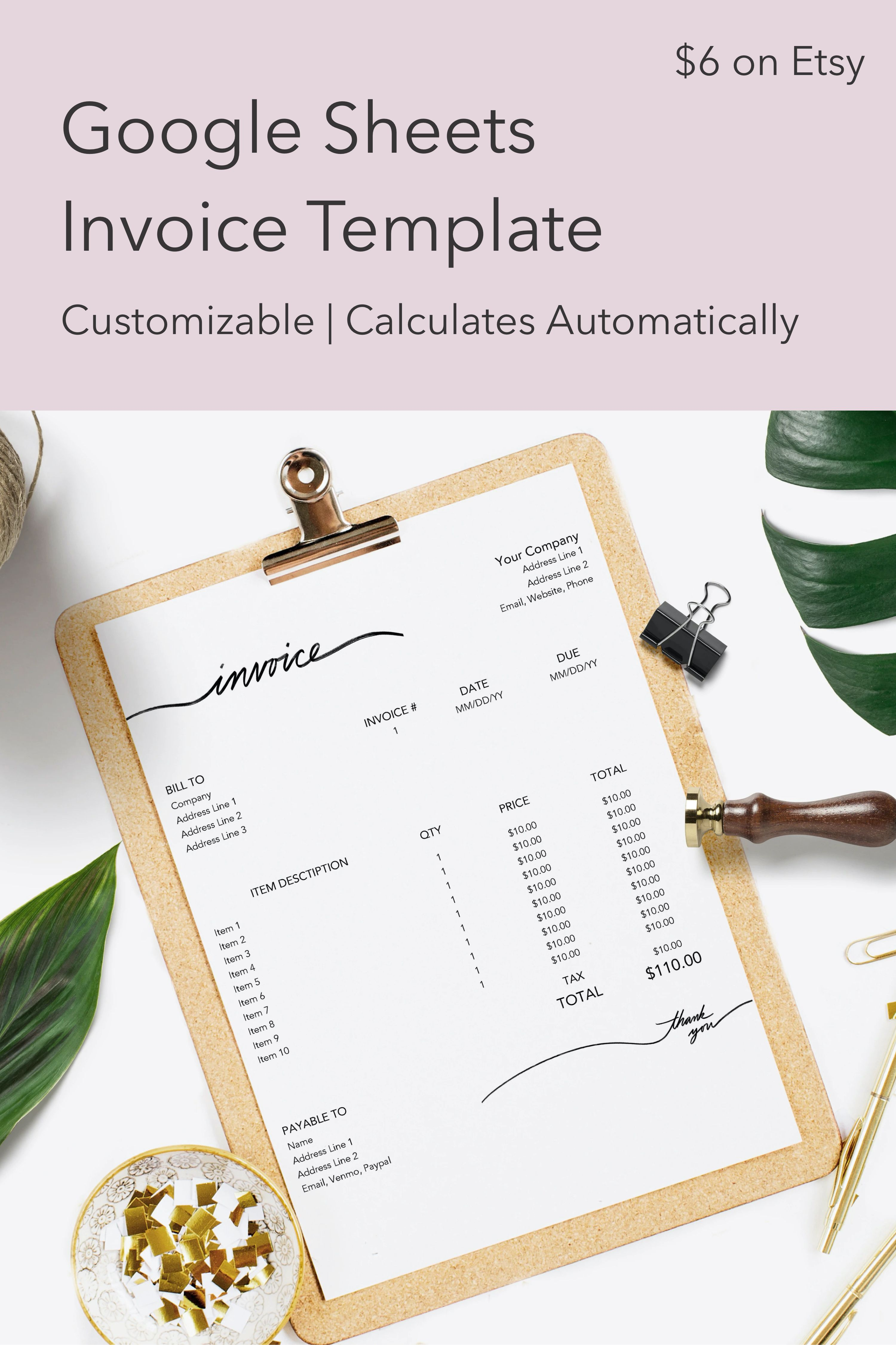 Invoice For Google Sheets Business Freelance Photography Etsy In 2021 Invoice Template Photography Invoice Freelance Invoice