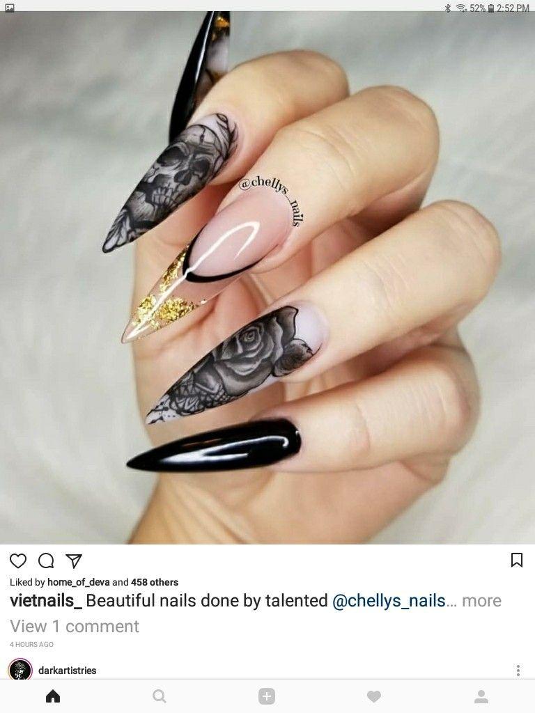 Amazing Black Skull Roses Manicure Wedding Nails Rose Nail Art