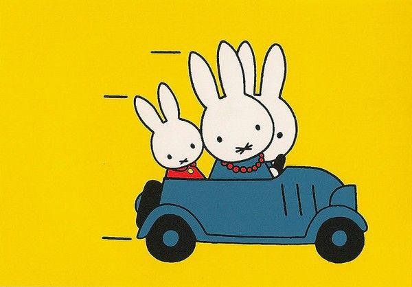 papa en pluis met nijntje in de auto