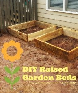 DIY Raised Garden Beds from www.simplesouthernblog.com . It's not super hard and costs $120 for four beds,4x4 size.