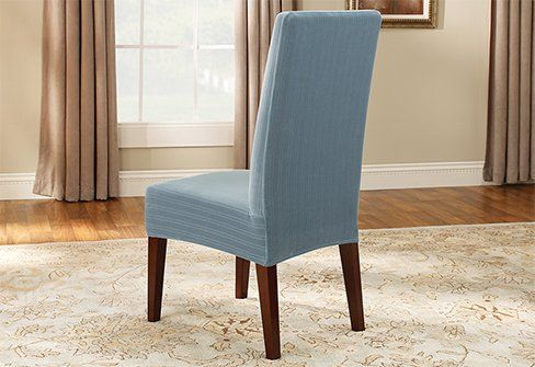 Sure Fit Stretch Pinstripe Short Dining Room Chair Cover French Blue