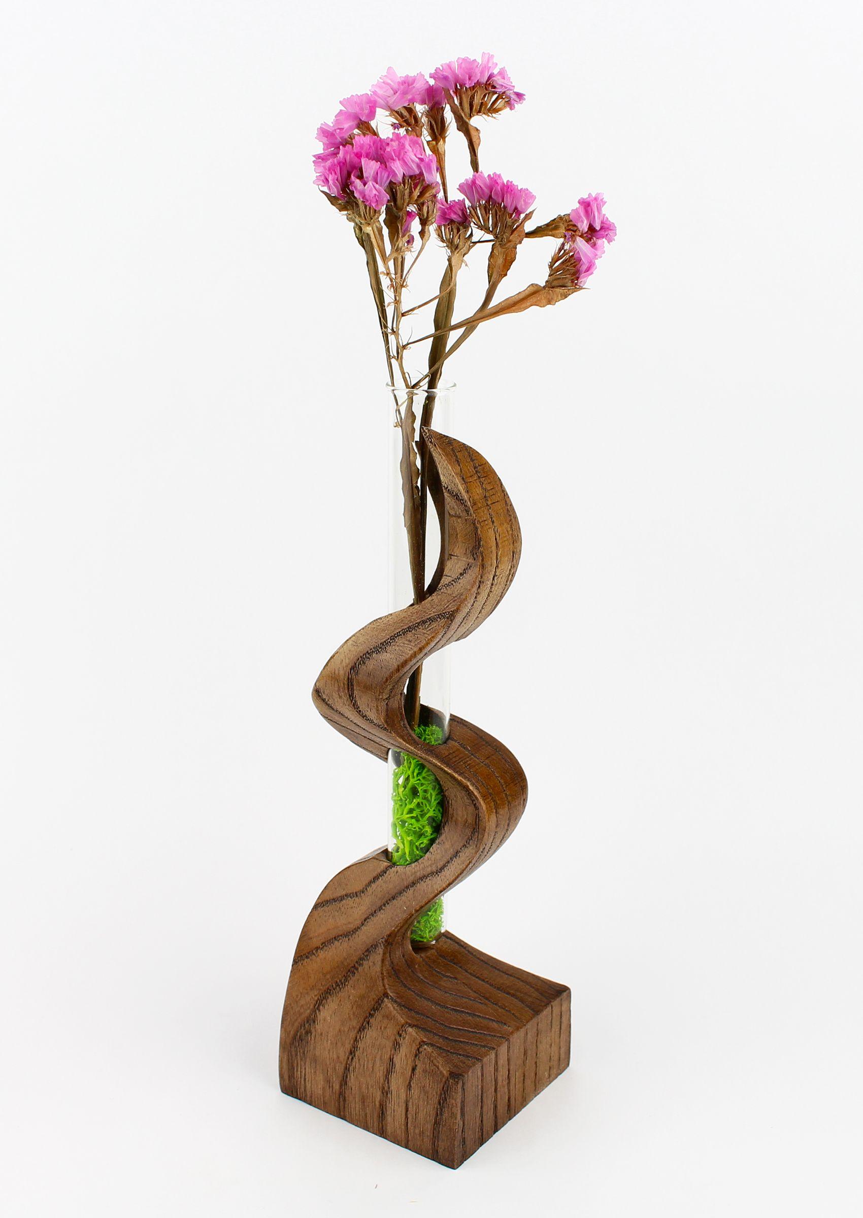 Minimalist Vase Flowers Holder Vase Desk Vase Test Tube Vase Spiral Wooden Vase Table Centerpiece Rustic Wooden Decor Moms Gift Woodworking Art Ideas Flower Vases Wooden Decor