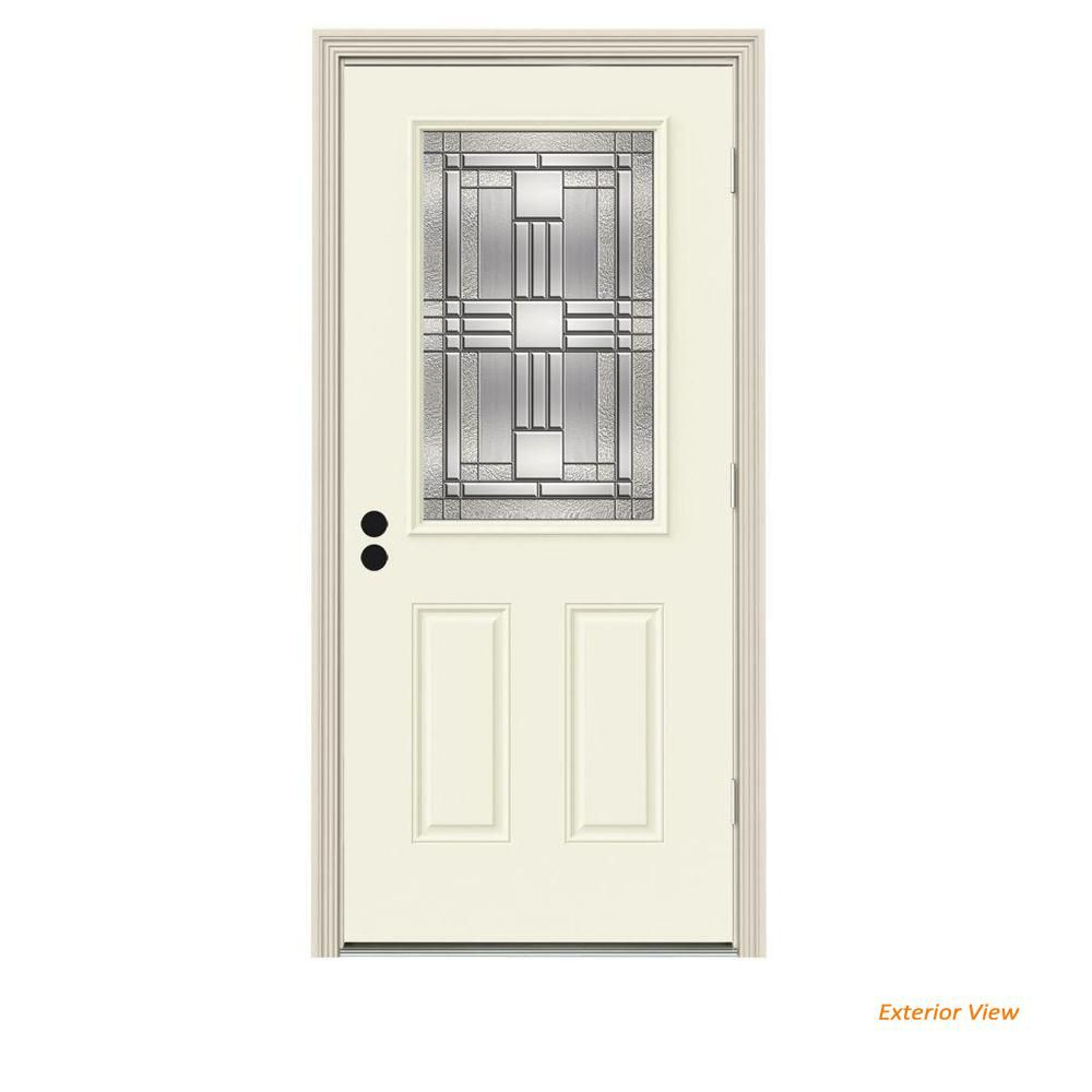 Jeld Wen 36 In X 80 In 1 2 Lite Cordova Vanilla Painted Steel Prehung Left Hand Outswing Front Door W Brickmould Thdjw186800182 White Paints House Styles Steel Doors