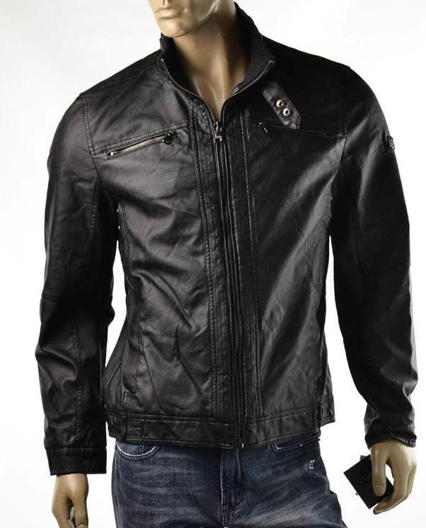 Mens Jacket English Laundry Black Moto Full Zip Outerwear Coat Sz