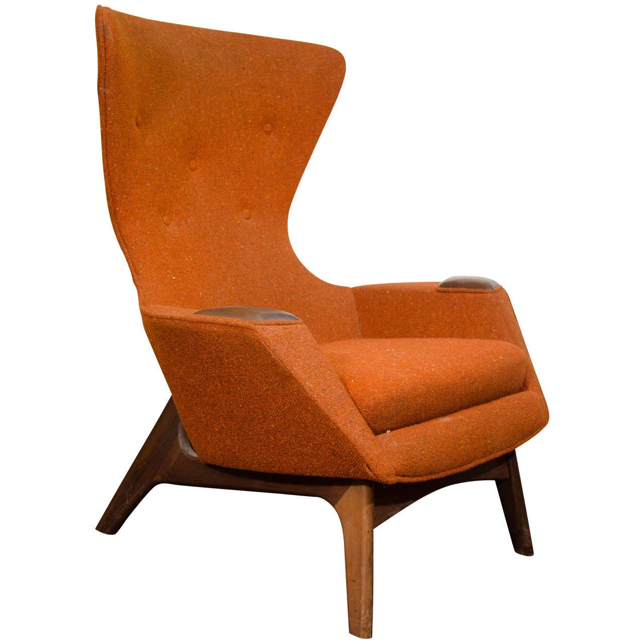 mid century modern accent chair orange small front porch chairs midcentury high back wing by adrian pearsall color