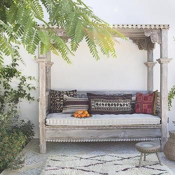 Mediterranean Style Backyard With Outdoor Canopy Daybed Canopy