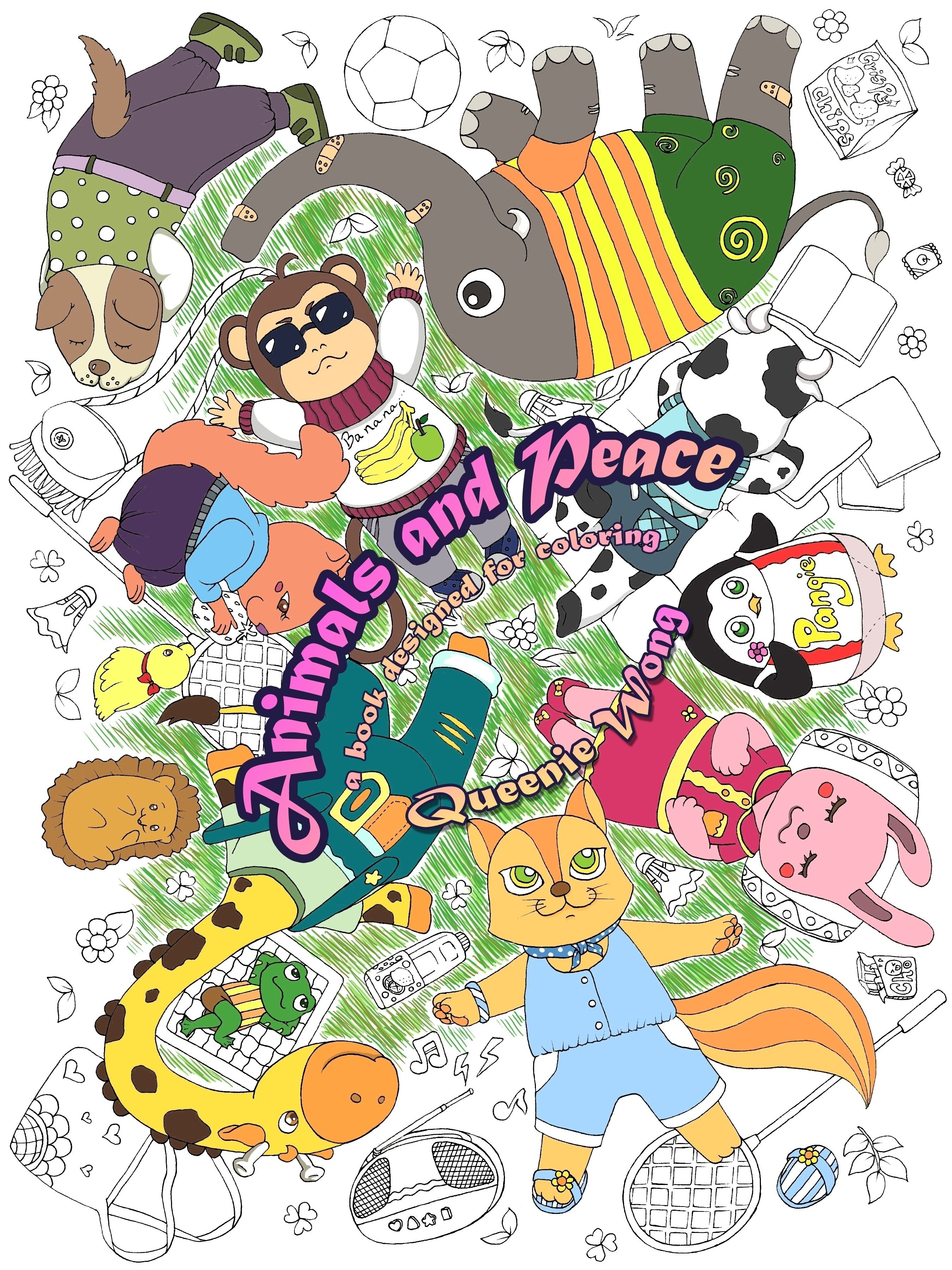 Animals and Peace - A book designed for coloring by Queenie Wong. It is selling on Amazon.