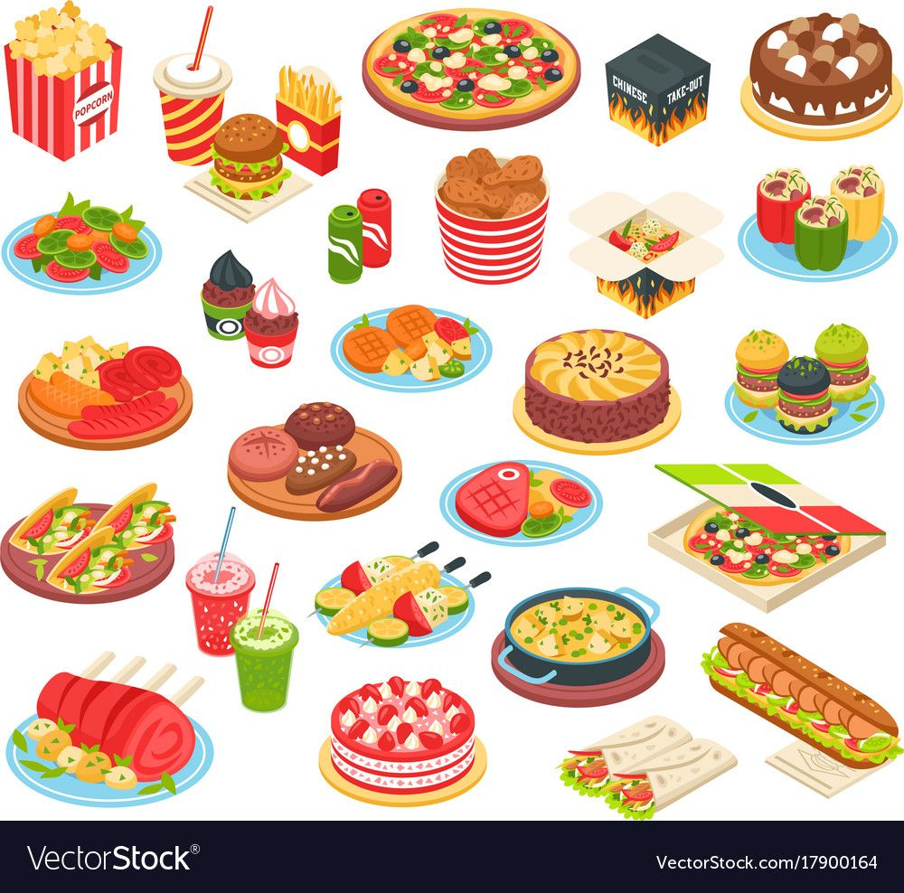 Fast food isometric set vector image on in 2020