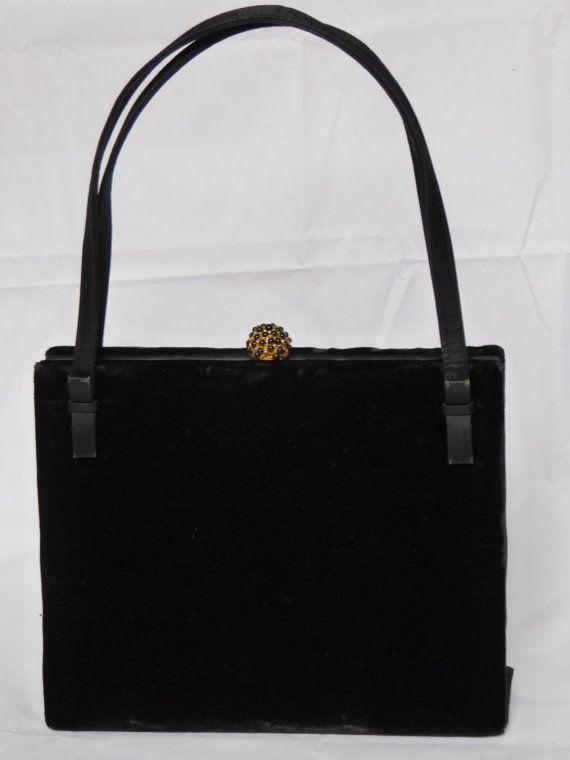 73b2114189e Vintage S. Launer   Co Black Velvet Handbag by RareVintageRetro ...
