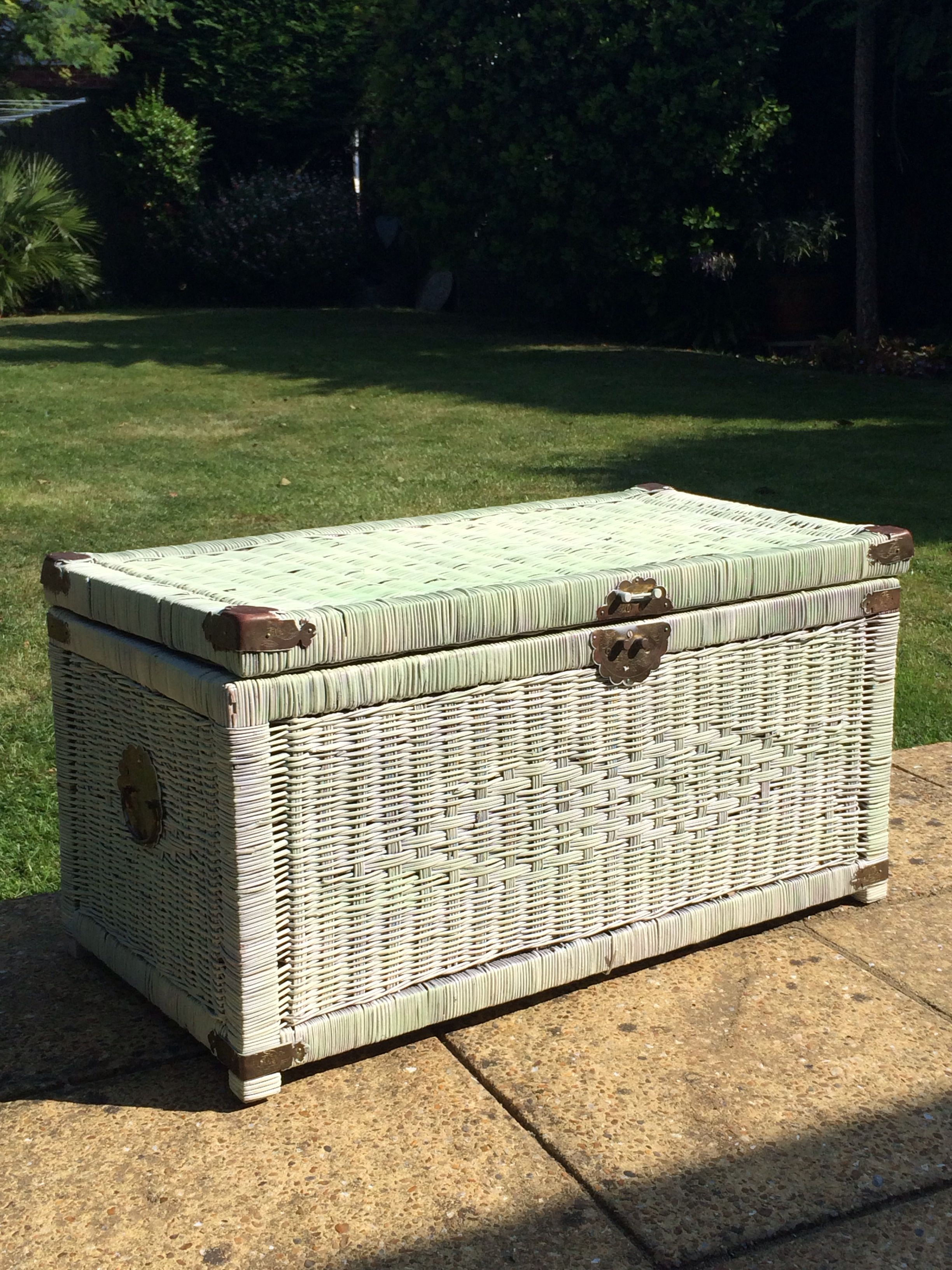 Tired Wicker Trunk Transformed And Updated With Shabby Chic Pale Green Paint Over Glad This Didn T Sell Painted Wicker Wicker Trunk Vintage Painted Furniture [ 3264 x 2448 Pixel ]