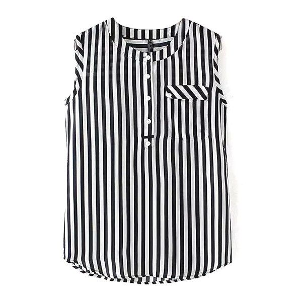 Round Neck Sleeveless Striped Button Shirt (50 BRL) ❤ liked on Polyvore featuring tops, beautifulhalo, outfit, sleeve less shirts, round neck top, sleeveless tops, no sleeve shirt and sleeveless shirts