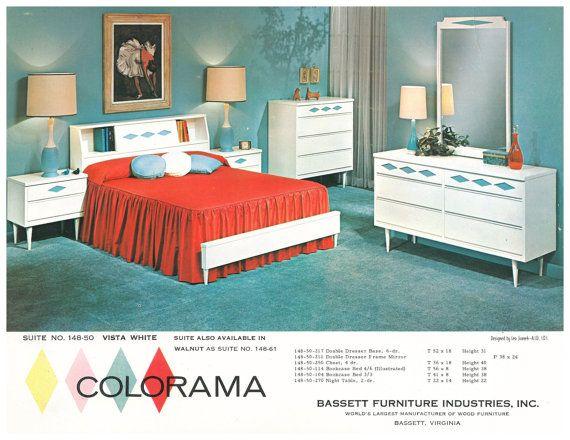 Retro Vintage Rare Bassett Industries Colorama Bedroom Wood 2 Piece Set 9 Drawer Dresser With