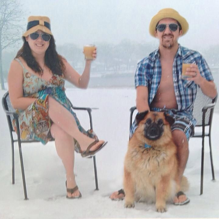 Funny couples cleveland christmas card photo with dog