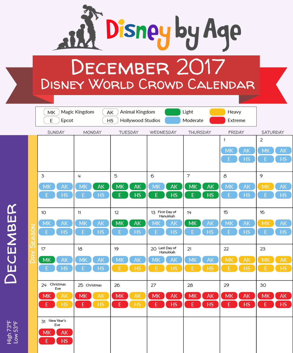 December 2017 -Jan 2019 Calendar December 2017 disney world crowd calendar | Disney | Disney world
