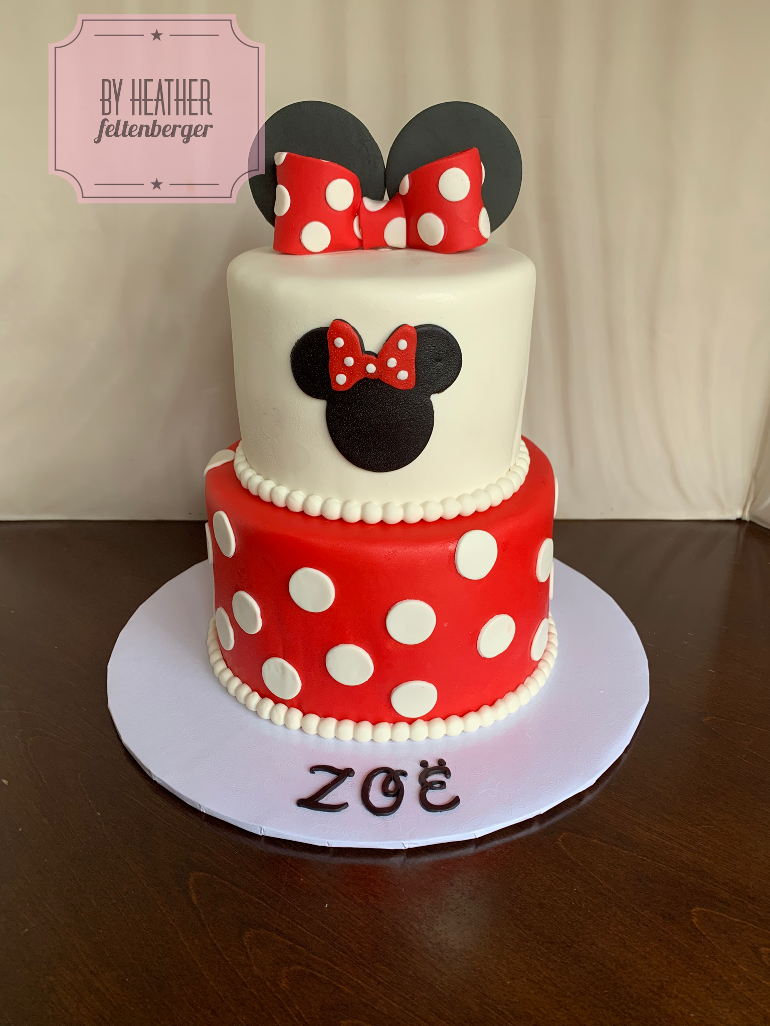 Brilliant Disney Minnie Mouse 2 Tier Birthday Cake Red And White Minnie Funny Birthday Cards Online Overcheapnameinfo