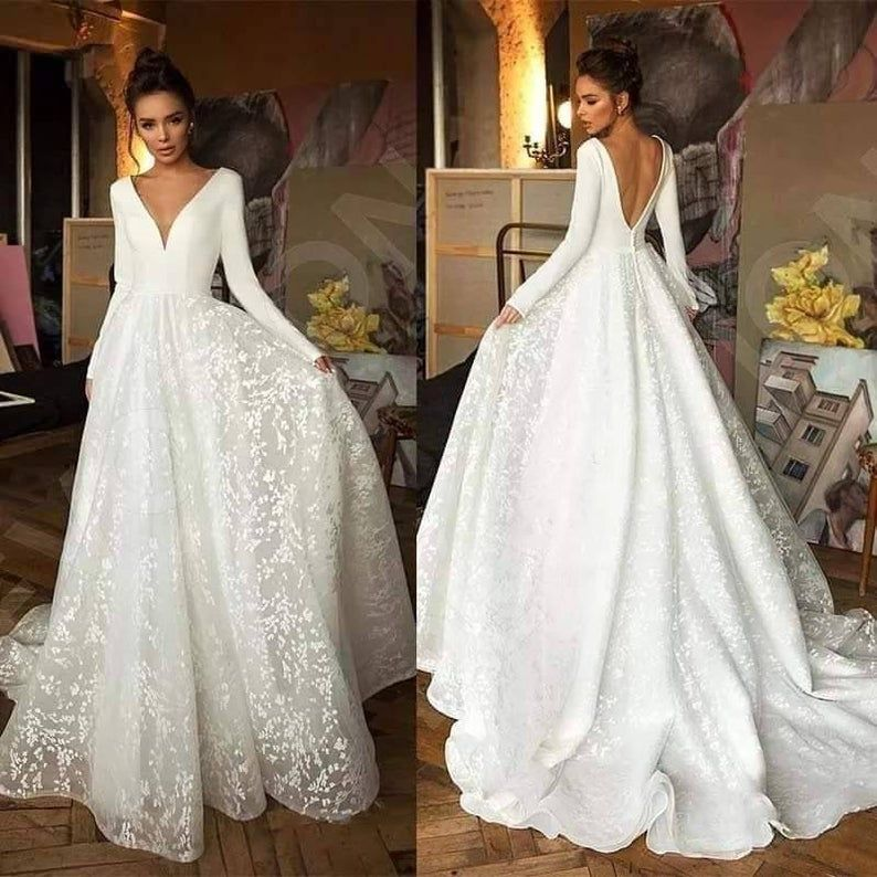 Long Sleeved Lace Wedding Gown Etsy In 2020 Long Sleeve Bridal Dresses Backless Bridal Gowns Wedding Dress Trends